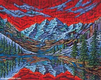 Rocky Mountains Print, Maroon Bells, Colorado art, Aspen, 8x10, by Anastasia mak