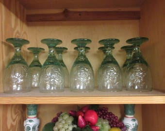 Retro Orchard Fruit Green Water Goblet by Libbey Glass Co.