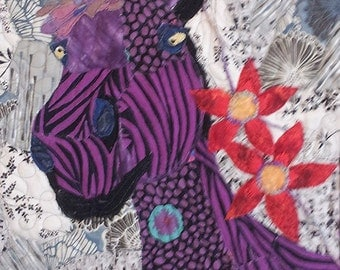 Horse Artwork - Horse Art - Horse Wall Art - Horse Quilt - Horse Decor - Equestrian Art - Equestrian Decor -Purple Home Decor -Whimsical Art