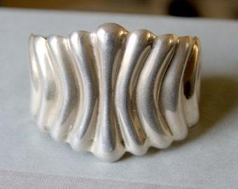 TAXCO Sterling Silver Cuff Bracelet Signed Boho Southwest