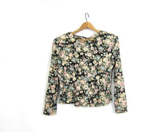 Button Up Floral Top Long Sleeve Tshirt Blouse Shirt Hipster Spring Shirt Roses Flower Print Vintage Womens size Large