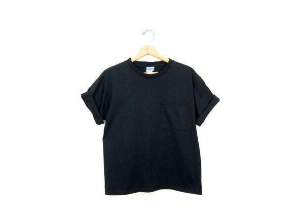 Vintage Plain Black Tshirt 80s Basic Boxy Tee Simple Everyday Crewneck w/ Chest Pocket Cotton Blend Top DES Womens Medium Large