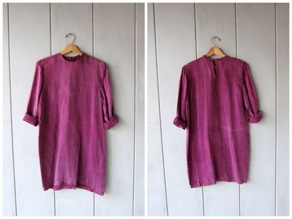 Vintage Purple Rayon Mini Dress Loose Fit Boho Dress Minimal 90s Slinky Silky Dress Hipster 1990s Bohemian Chic Womens Medium