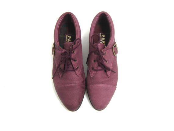 Purple Leather Lace Up Shoes Retro Kicks Tennis Shoes Vintage Sneakers 1980s Buckle Grunge Steampunk Club Kid Hipster Creepers Womens size 8