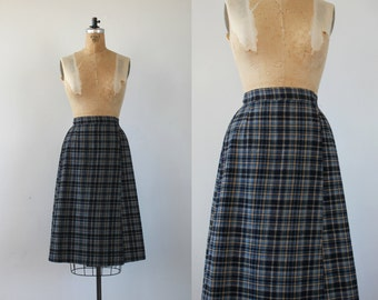"vintage 1970s skirt / 70s plaid skirt / 70s wrap skirt / 70s plaid wrap skirt / adam and yves skirt / 70s wool skirt / 24"" waist 28"" waist"