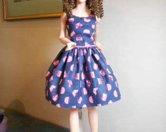 FID Girl - Pretty Summer Dress of Blue and Pink Polished Cotton