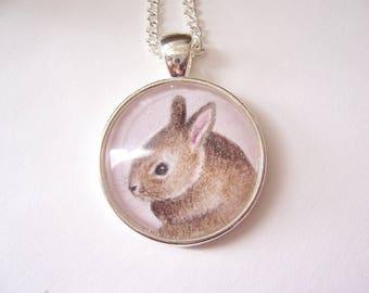 Silver Pendant Rabbit Necklace, Original miniature drawing, Wearable Art Jewelry, Animal Necklace, Bunny Rabbit Art Jewelry