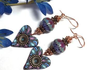 Glass Bead Earrings Lampwork Earrings Polymer Clay Earrings Dangle Earrings Glass Earrings Handmade Earrings Art to Wear Earrings