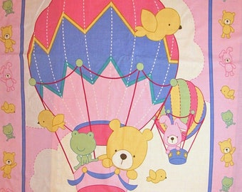 Nursery Wallhanging Blanket Pink Teddy Bear Balloon - Fabric Cotton PANEL