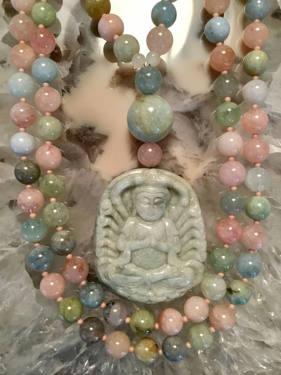 Beryl (Morganite) and Jade Mala/Prayer Beads