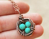 Bird Nest Necklace, Oxidized Copper, Howlite Turquoise, Wire Jewelry