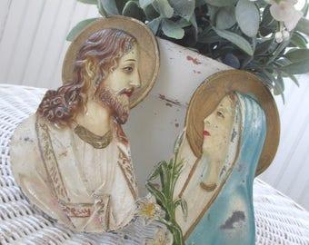 Vintage Metal Religious Plaques * Shabby Chippy Patina * Jesus * Madonna