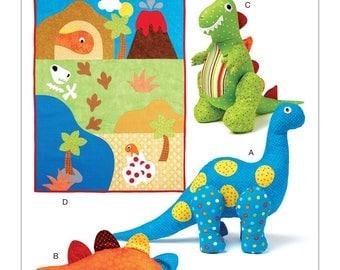 DINOSAUR TOY - Quilt PATTERN / Soft Stuffed Plush / Three Styles / Appliqued Quilt - Play Mat
