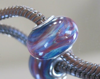 """Tangled Sky Glass """"Erlina"""" #1 Fully Sterling Silver Lined Lampwork Charm Bead BhB"""