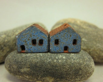 READY TO SHIP...Miniature Terracotta House Beds...Set of 2...Textured Blue