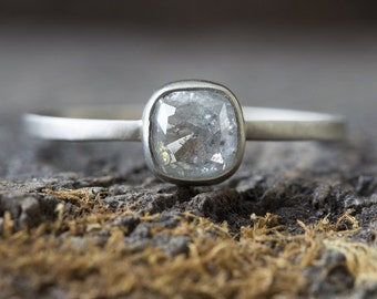 Natural Silver-Clear Cushion Cut Diamond Ring