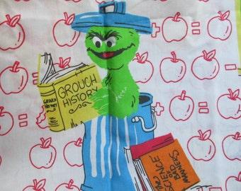 Vintage Sesame Street Twin Flat Sheet with Apples School