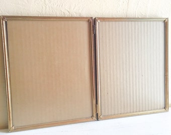 Vintage Folding 8x10 Gold Metal Picture Frame Bi-fold Filigree Corners Patina