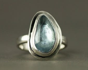 Rose Cut Aquamarine Ring - Sterling Statment Ring