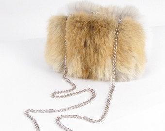"Coyote Fur Clutch ~ Real Coyote Fur ""Bella Bag"" ~ Fur Evening Clutch ~ Brown Fur Clutch ~ Fur Minaudière ~ Fur Bag ~ Trendy Fur Clutch"