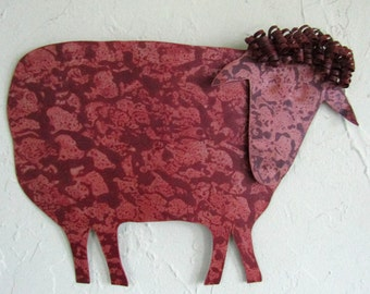 Metal Wall Sculpture Sheep Decor - Folk Art - Farm Animals Recycled Metal Barnyard Art Indoor Outdoor Animal Wall Art 10 x 13