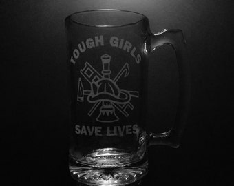 Tough Girls Save Lives 25 Ounce Beer Mug.
