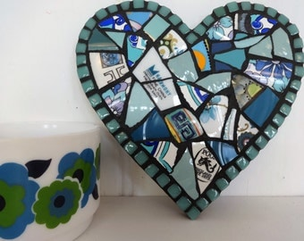 Turquoise Heart Decoration, Crockery Mosaic Heart, Gift for her, Mothers Day Gift