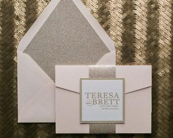Letterpress, 1 color  - Fancy Blush and Gold Pocket Folder Wedding Invitations - SAMPLE (ALYSSA)