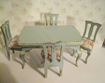 Dollhouse table, Rectangle table, four  chairs, duck egg blue table, roses, twelfth scale miniature