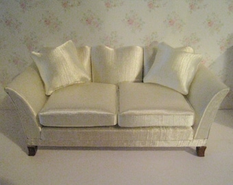 Dollhouse  Sofa, Satin sofa, cream satin, Living room sofa,  Elegant sofa  , 1/12 scale chaise