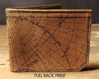 wallet - leather wallet - mens wallet - constellation wallet - star maps