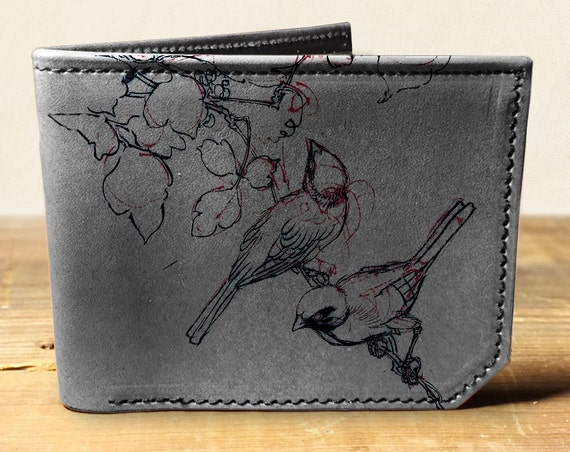 wallet - leather wallet - sketch birds wallet - men wallet - 0016