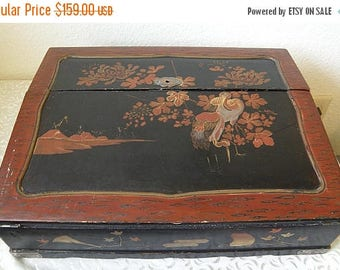 SPRING SALE Antique Japanese Writing Desk, Painted and Lacquered, Many Compartments