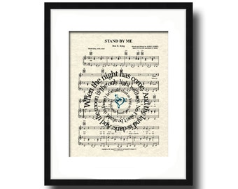 Stand By Me Song Lyric Sheet Music Art Print, Custom Music Art, Names and Date Art, First Dance Art, Love and Friendship Art