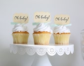 Baby Shower cupcake toppers, Oh Baby, Cupcake toppers