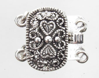 20x16mm Antique Silver on Solid Brass Metal 2 Strand Box Clasp (FS23)