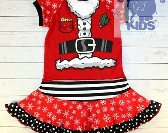 SANTA'S COSTUME a dress made out of authentic tee - super cool funky upcycled repurposed pieced size 3/4 other sizes also available