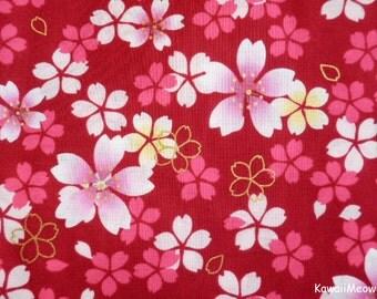 "Scrap / Japanese Kimono Fabric - Sakura Cherry Blossoms on Red - 110cm x 52cm(43""W x 20.4""L) (na161212)"