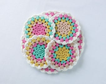 Crochet - Pot Holder and Coaster Set - Candy - Double Layered