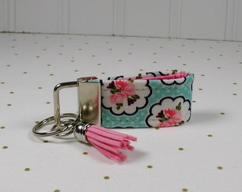 Mini Key Fob with Tassel, Mini Fabric Key Fob with Tassel,Posy Garden, Posy Scallop Aqua