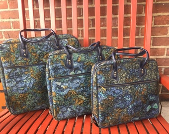 FREE SHIPPING  Vintage Matched Set of 3 Nexting Blue Print Luggage Suitcases Made in Japan