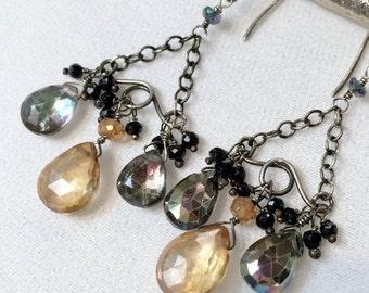 50% SALE Black Gold Chandelier Earrings Wire Wrap Gemstone Chandelier Earring, Oxidized Silver Rainbow Mystic Quartz Earrings Fall Fashion