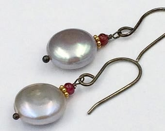 SALE Silver Coin Pearl Earrings Wire Wrap Red Spinel Grey Pearl Earrings Wedding Jewelry Bridesmaid Earrings Mother of the Groom Holiday Jew