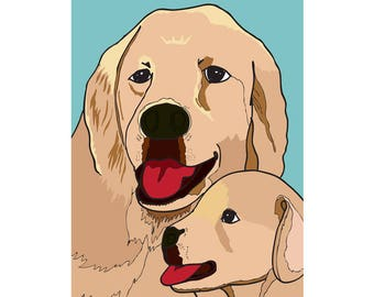 Greeting Card - Dog and Puppy