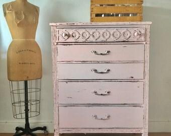 Vintage distressed antique pink distressed Bassett furniture coastal living dresser