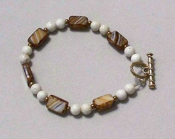 Beige and Brown Rectangular Czech Glass Beads and Ocean Jasper Gemstone Beads by Carol Wilson of Je t'adorn