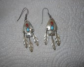 Vintage Silver and Turquoise Dangle Earrings Native American