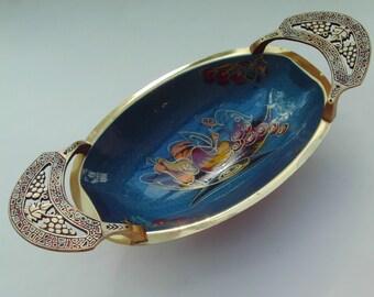 Brass Enamel Blue Oval Dish Bowl Israel Footed