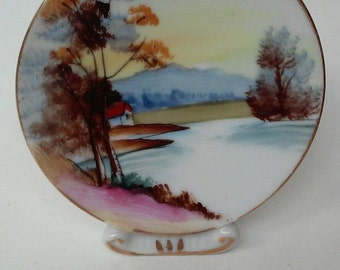 Vintage Miniature Standing China Plate Japan Water scene House Mountains Trees