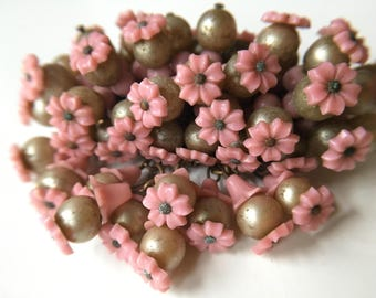 Terrific Miriam Haskell Cascading Beadwork Brooch in Coral Pink